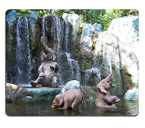 d Custom, niedliche Baby Elefanten sprühen Wasser in Wasserfall, lustige Szene, Dickes Mauspad 24,1 x 7,9 Zoll (240 x 200 x 3 mm) ()