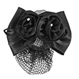 SODIAL(R) Black Polyester Bow Ribbon Metal Barrette Snood Net Bun Cover Hair Clip for Women