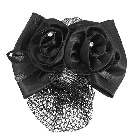 SODIAL(R) Black Polyester Bow Ribbon Metal Barrette Snood Net Bun Cover Hair Clip for Women