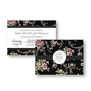 Occasions Direct-Biglietti di invito per festa di fidanzamento, confezione da 10 pezzi, consegna gratuita & buste, carta da parati, motivo: Disegni stilizzati di fiori, n. 85):