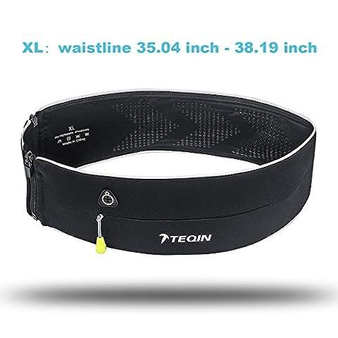 TEQIN Running Belt Waist pack Reflective Zipper Openings Unisex Universal Outdoor Sports Workout Flip belt pour tous les téléphones, carte de paiement, clés, eau en bouteille, randonnée, voyage, vélo-taille XL