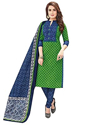 Ishin Cotton Green & Blue Printed Unstitched Salwar Suit Dress Material (Anarkali/Patiyala) With Cotton Dupatta