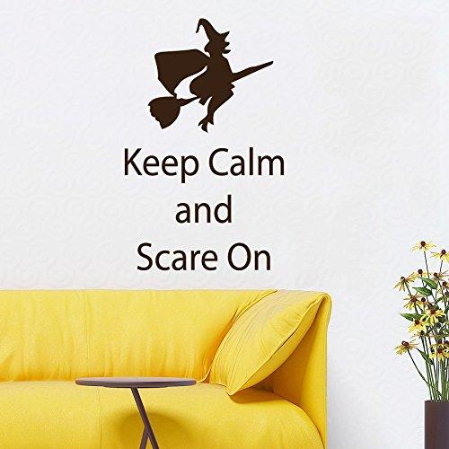 een Wandaufkleber Zitat Keep Calm and Scare auf Hexe auf Besen Vinyl Aufkleber Aufkleber Art Katze Wandmalereien 55,9x 88,9cm ()