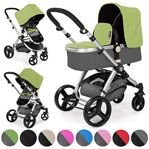 Froggy Kinderwagen MAGICA Kombikinderwagen Sportwagen Buggy Kinderwagenset 2 in1 mit Babywanne und Sportsitz Grün