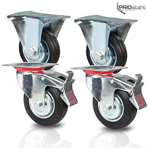 Transportrollen Schwerlastrollen 4 Stück| 2x Bockrollen & 2x Lenkrolle mit Bremse | 200mm Durchmesser | Gummi Schwarz | Vollgummi mit Stahlfelge -
