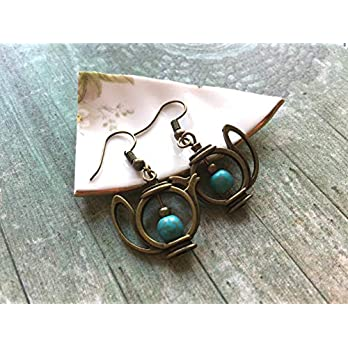 Whimsical brass teapot earrings with turquoise beads, vintage and Alice in Wonderland inspired jewelry