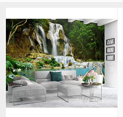 Benutzerdefinierte Größe Innen Klassische Klassische Malerei 3D Wallpaper Landschaft Wasserfall 3D Stereo Hintergrund350x256cm