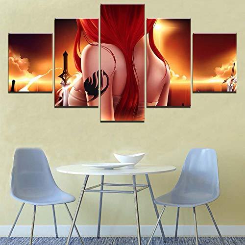 SHANYUR Bilder Vlies Leinwandbild Kunstdruck modern Wandbilder Wanddekoration Design Wand Bild 5 Teilig Fairy Tail 100/80/60x40(cm) Frameless