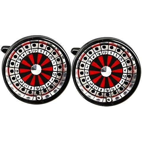 Anazoz Acero Inoxidable Hombres Camisa Gemelos Negro Rojo Redonda Casino Rotary Dial Para Boda