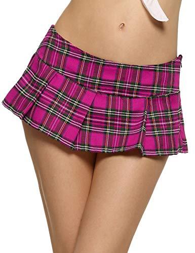 Sexy Schulmädchen Mini Rock (ADOME Damen Minirock Schulmädchen Schulrock Schottenkaro Skirt Karierte Mini Röcke Cosplay Nachtwäsche Rosarot S)