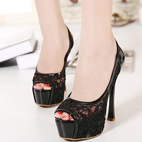 COOLCEPT Femmes Mode Slip On Sandales Peep Toe Talon Aiguille Chaussures Noir