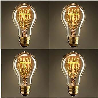 KINGSO 4Pcs E27 A19 40W Ampoules à Incandescence 220V Rétro Edison Ampoules Antique Lampe