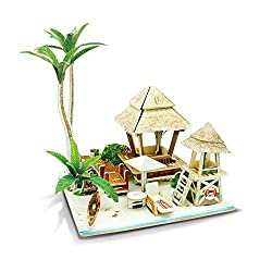 Creative Assemble Puzzle Toys Child Early Education Wooden 3 D Puzzle House Bali Island