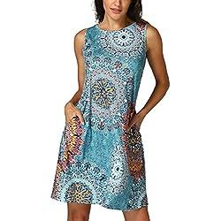 Vestidos Mujer Verano 2018,Mujer sin mangas Vintage bohemio Maxi fiesta de la noche vestido floral de playa LMMVP (S, Multicolor)