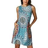 Vestidos Mujer Verano 2018,Mujer sin mangas Vintage bohemio Maxi fiesta de la noche vestido floral de playa LMMVP (XL, Multicolor)