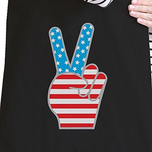 365 Printing inc , Borsa da spiaggia  Donna Ameowica Natural Canvas Bags Misura unica American Flag Peace Black Canvas Bags