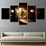WKWKFML Gemälde auf Leinwand Home Decor Wall Art 5 Stück Herr Der Ringe Ringe Gemälde Aufenthalt HD abstrakte Drucke Plakate für Filme Rahmen, 20 x 35 20 x 45 20 x 55 cm, Rahmen