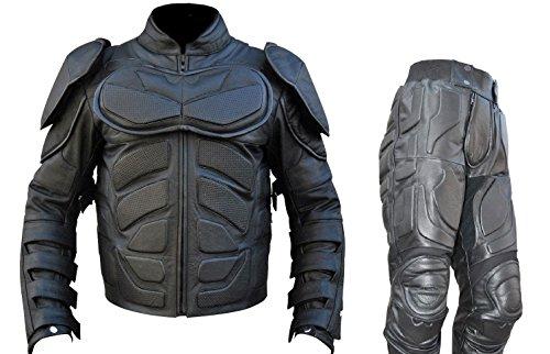 Vera Pelle batman tuta in pelle di mucca Dark Knight uomo Bestzo Nero L