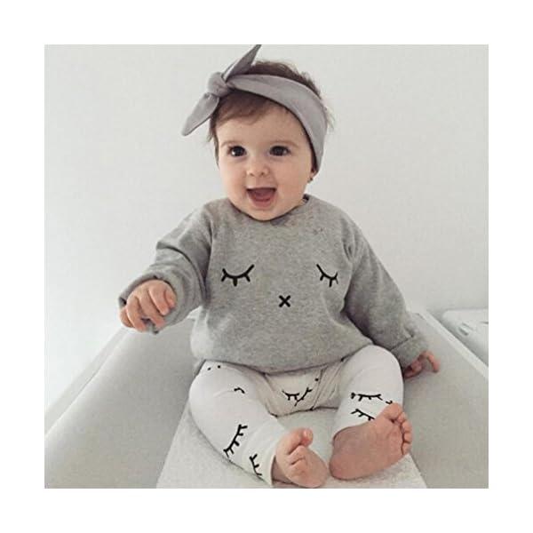 Infantil Bebé Niño niña Cute pestañas de impresión Camiseta Tops + Pantalones Trajes Ropa 2