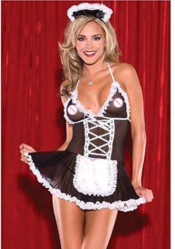 YQZXKL Bodystocking Design Frauen Bondage Maid Kostüm Patchwork Stimmung Kleid Strumpf Strape Transparent Backless Sexspielzeug XXL Dessous,Schwarz,XXL