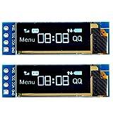 MakerHawk 2pcs I2C OLED Display Module 0.91 Inch I2C SSD1306 OLED Display Module White I2C OLED Screen Driver DC 3.3V~5V for Arduino