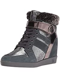 Armani Jeans Women's Jeans Faux Fur Wedge Fashion Sneaker