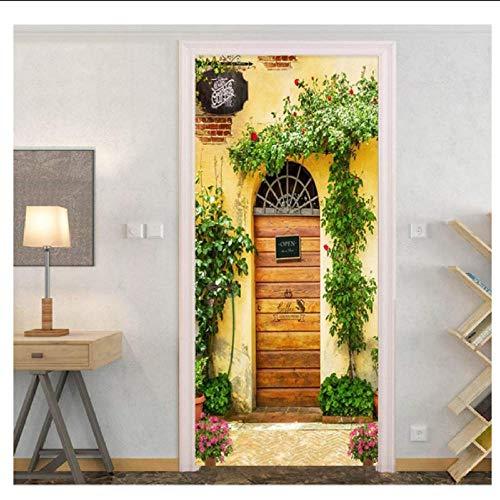 Yqgdss 3D Pastoralen Landschaft Tür Aufkleber PVC Kunst Flur Dekoration Hause Wasserdicht Papier Wandtattoos Wandbild Tapete