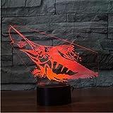 Pesca Swordfish 3D Lámpara 7 Color Visual Touch Led 3D Illusion Peces Luz Nocturna Decoración de la Oficina En Casa Para los Entusiastas de la Pesca Regalo