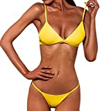 OVERDOSE Frauen Push-Up gepolsterte BH Beach Bikini Set Fest Damen Badeanzug Bademode(Yellow,L