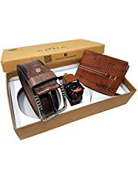XPRA Analog Watch, Brown PU Leather Belt & Brown Leather Wallet For Men/Boys Combo (Pack Of 3) - (WL-3CMB-37)