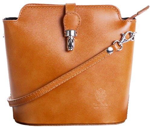 Italienisch Weichleder, Kleine Cross Body oder Umhängetasche Handtasche. Enthält eine Schutzaufbewahrungstasche. Tan