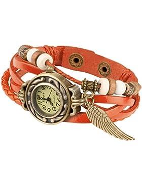 Taffstyle® Damen Analog Armbanduhr mit Lederarmband Retro Geflochten Armband Uhr Damenarmbanduhr mit Charms, Druckknopf...