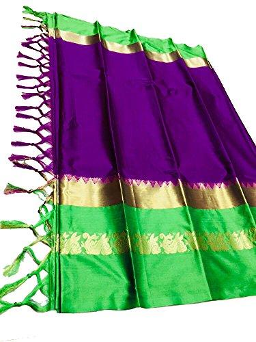 TAGLINE Women's Cotton Silk Saree with Extra Broket Blouse (15 COLOR) (Purple-Green)