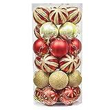 Valery Madelyn 30 Piezas Bolas de Navidad Rojas y Doradas,60mm Bolas Brillantes y Mates con Pintura Adornos Navideños para Árbol con Cadena Pre-Atados
