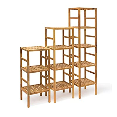 Relaxdays Bathroom Shelf sizes 5Shelves Stand for Natural Scandinavian Style 3,4& 5Tier Solid Wood Oiled Walnut Wood Shelf Unit for Bathroom, Kitchen, Hall, Sauna Towel, Brown