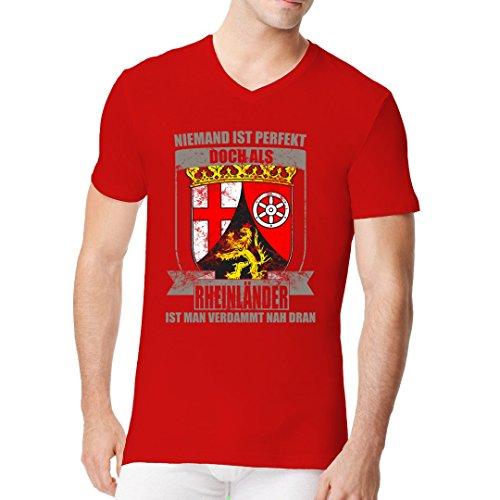 Fun Sprüche Männer V-Neck Shirt - Wappen Shirt - Perfekter Rheinländer by Im-Shirt Rot