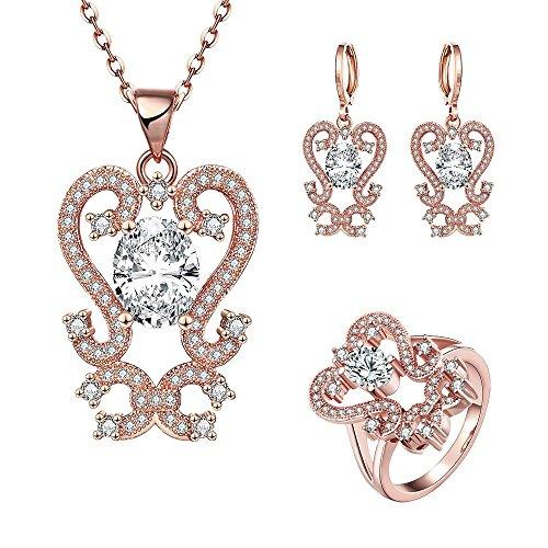 K Gold Zirkon Elegante Blume Halskette Ohrringe Ring Drei Stück Set , Roségold , 7 (Hochzeit Ring 3 Stück Set)