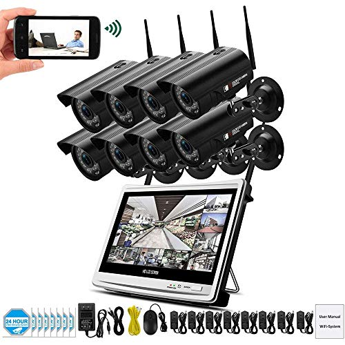 ZLMI 1080P 2MP Video Surveillance Kit Wireless LCD NVR Security Camera System WiFi CCTV Set HD P2P Technology Night Vision mit 2TB Hard Drive Disk-2/8 CH,8CH (Security-systeme Wireless)