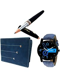 Xpra Analog Watch, Leather Wallet, Metal Pen Combo For Men & Boys (PN-CMB-2)