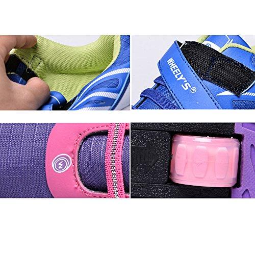 Meurry Kinder Roller Schuhe Rolls Einstellbare Skates Rollerblades Inline Skates Jungen Mädchen Single Wheel Sportschuhe Blau