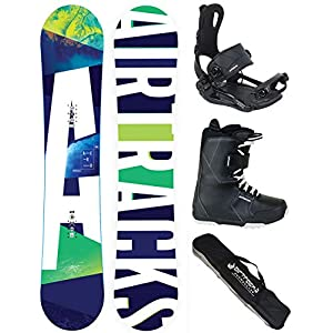 Airtracks Snowboard KOMPLETT Set/AERO Snowboard Wide Flat Rocker + BINDUNG Master FASTEC + Boots + SB Bag / 148 153 158 163 / cm