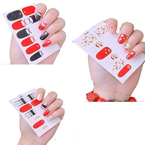 JUZEN Nagelaufkleber selbstklebend 3D Nagelaufkleber rot & schwarz Kontrast stilvoll wasserdicht haltbar Nagelpolierwerkzeug, 6St (Für Rot Schwarz-nageldesign Und Halloween)