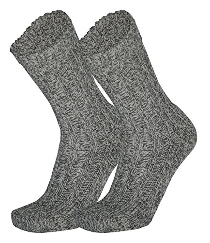 Tobeni 3 Paires de Chaussettes Norvegiennes Bas Hiver avec Laine de Mouton pour les Femme et les Homme Couleur Gris Tachete Taille 35-38