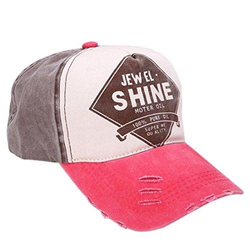 ❤️Btruely HerrenNueva unisex gorra de béisbol algodón mezclado motocicleta Gorra molienda borde haga viejo Sombrero colorida de la tela cruzada (Sandía)