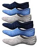 Teenloveme Homme Chaussettes Basses invisibles Respirantes, Homme Socquettes de Sport en Coton, Basiques Chaussettes avec Silicone, 3/6 paires