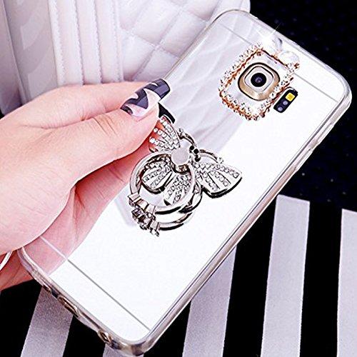 Custodia Cover per Samsung Galaxy S7 edge Samsung G935, Ukayfe Cover Specchio Lusso Placcatura Lucido di Cristallo di Scintillio Strass Diamante Glitter Caso per iPhone 7 Plus[Crystal TPU] [Shock-Abso Farfalla di Diamante Argento 2#