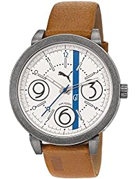 Puma PU103361004 Men's Motorsport White Dial Brown Leather Strap Watch