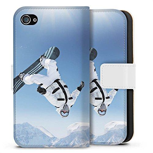 Apple iPhone X Silikon Hülle Case Schutzhülle Snowboard Schnee Berg Sideflip Tasche weiß