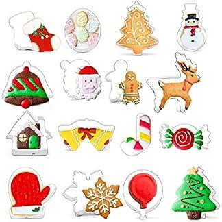 QIMMU 16 Piezas Moldes de Galletas de Navidad,Moldes para Galletas Navidad,Moldes Acero Inoxidable,Moldes Metal Acero Inoxidable Cortador de Galletas Navidad Cortadores Galletas