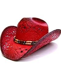 Modestone Women's Straw Sombrero Vaquero Red Black